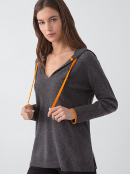 Contrast Stripe Cashmere Hoodie