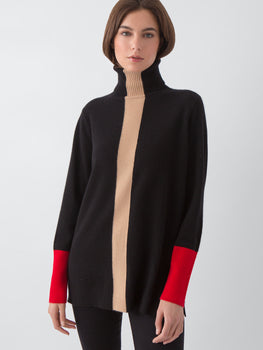 Cashmere Colorblock Turtleneck Tunic