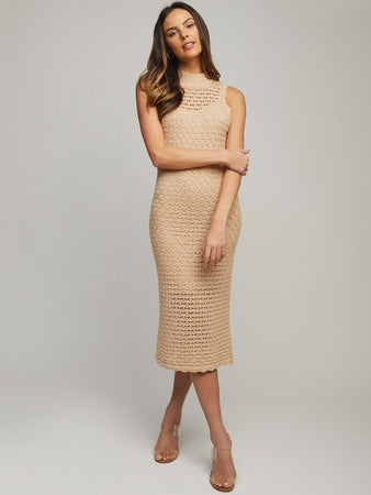 High Collared Sleeveless Pointelle Midi Dress