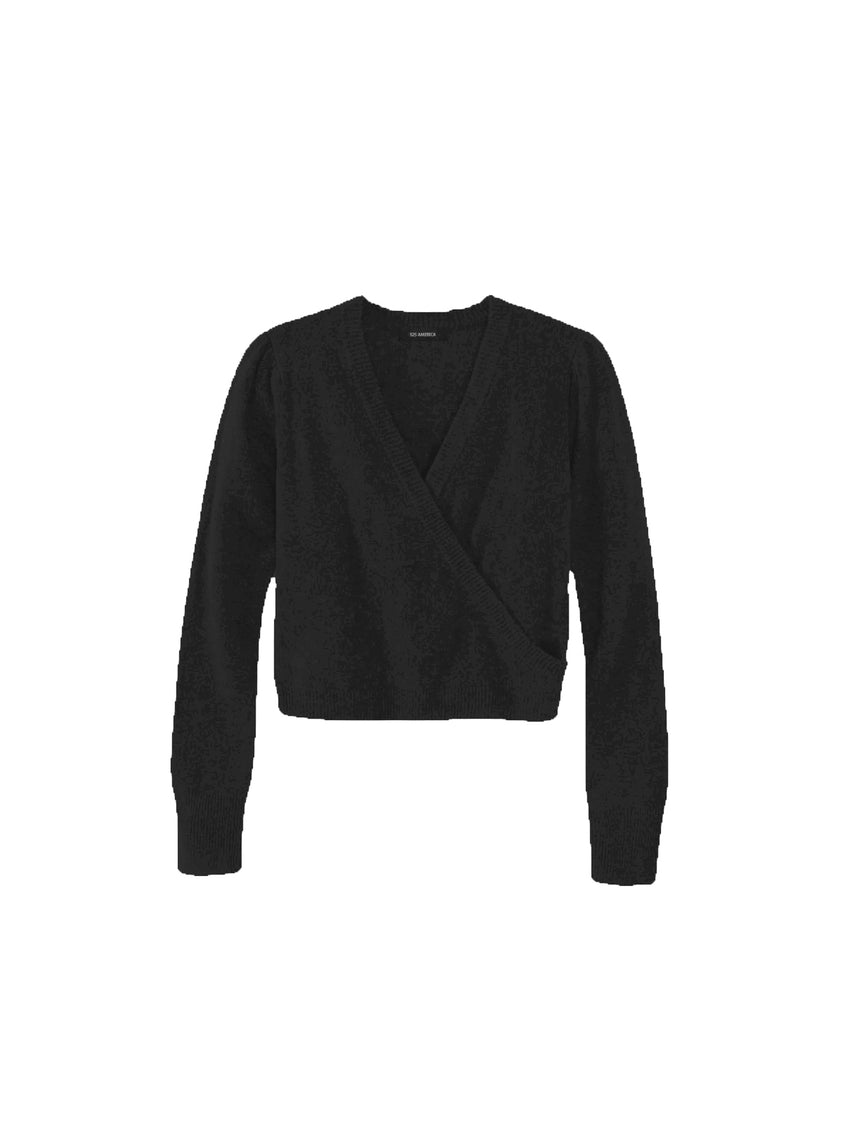 Cashmere Puff Shoulder Crossover Sweater