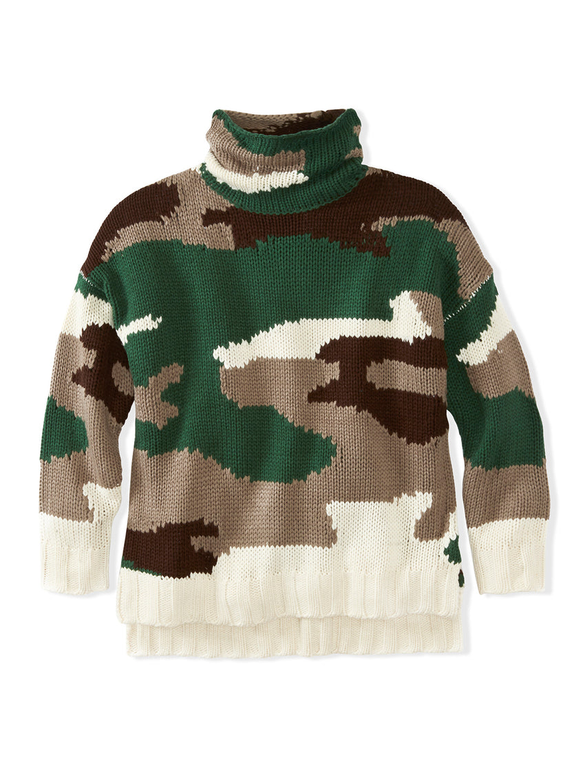 Camo Rolled Turtleneck Sweater