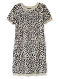 Leopard Print Short Sleeve Knit Dress