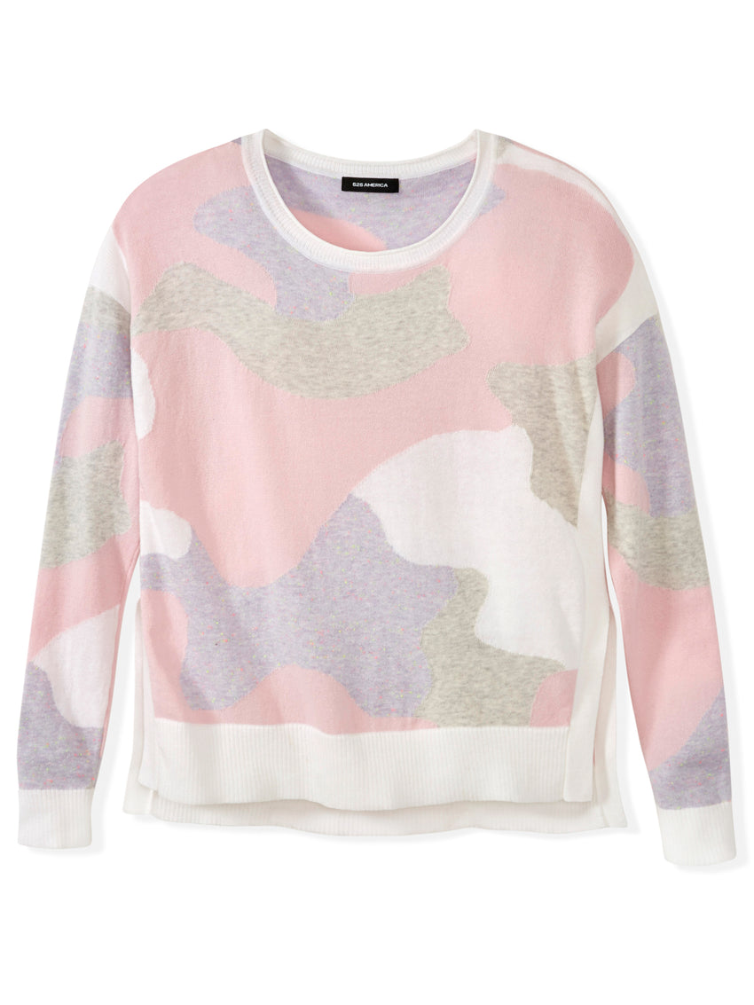 Cotton Camouflage Hi-Low Hem Sweater