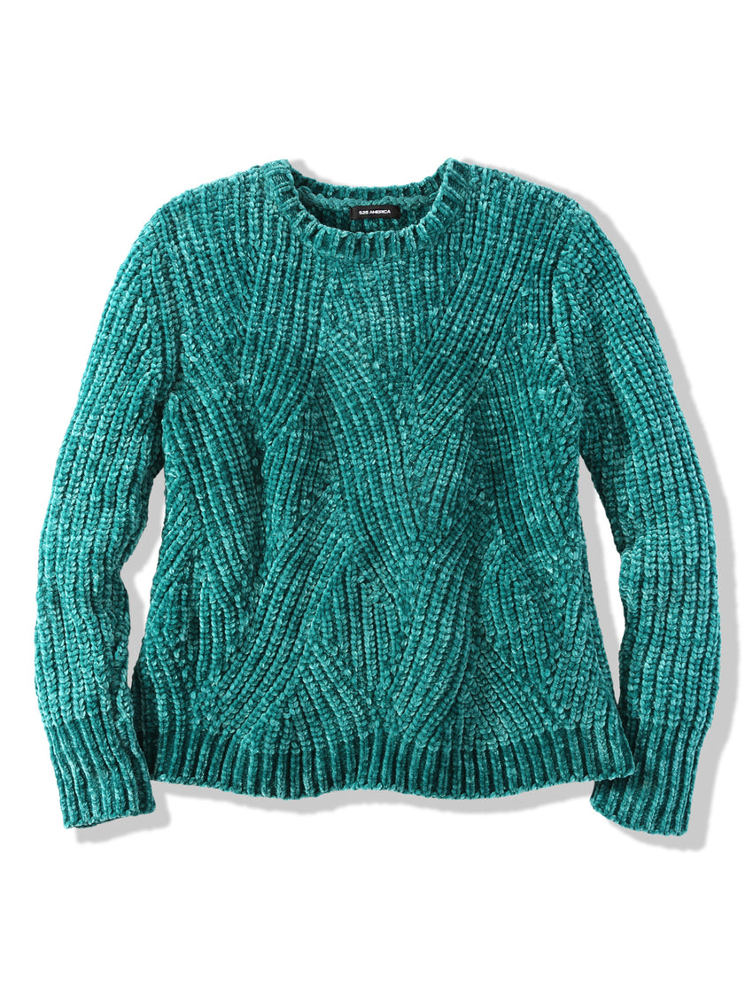Chenille Transfer Stitch Crewneck Sweater
