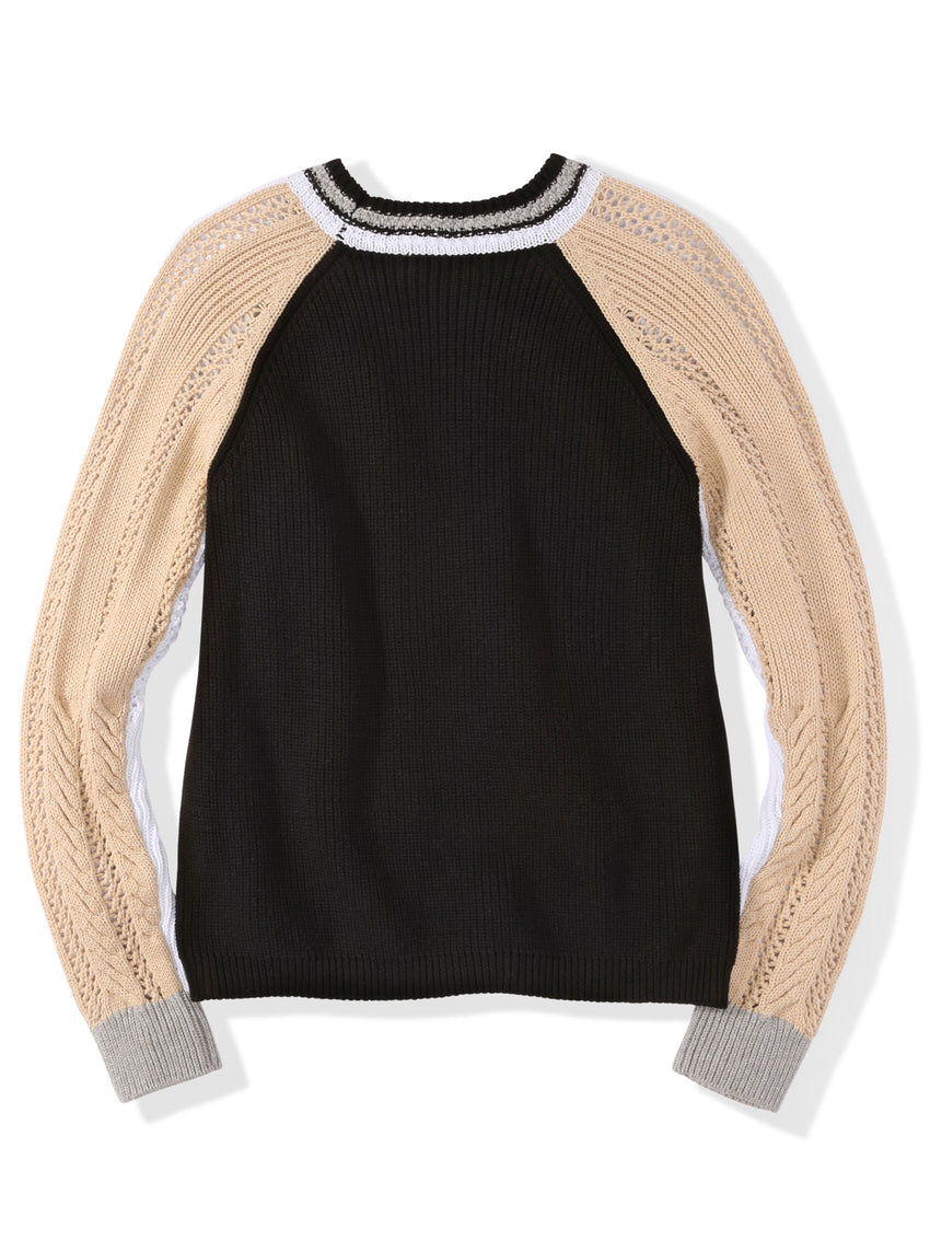 Cotton Colorblock Mix Stitch Raglan Sleeve Sweater