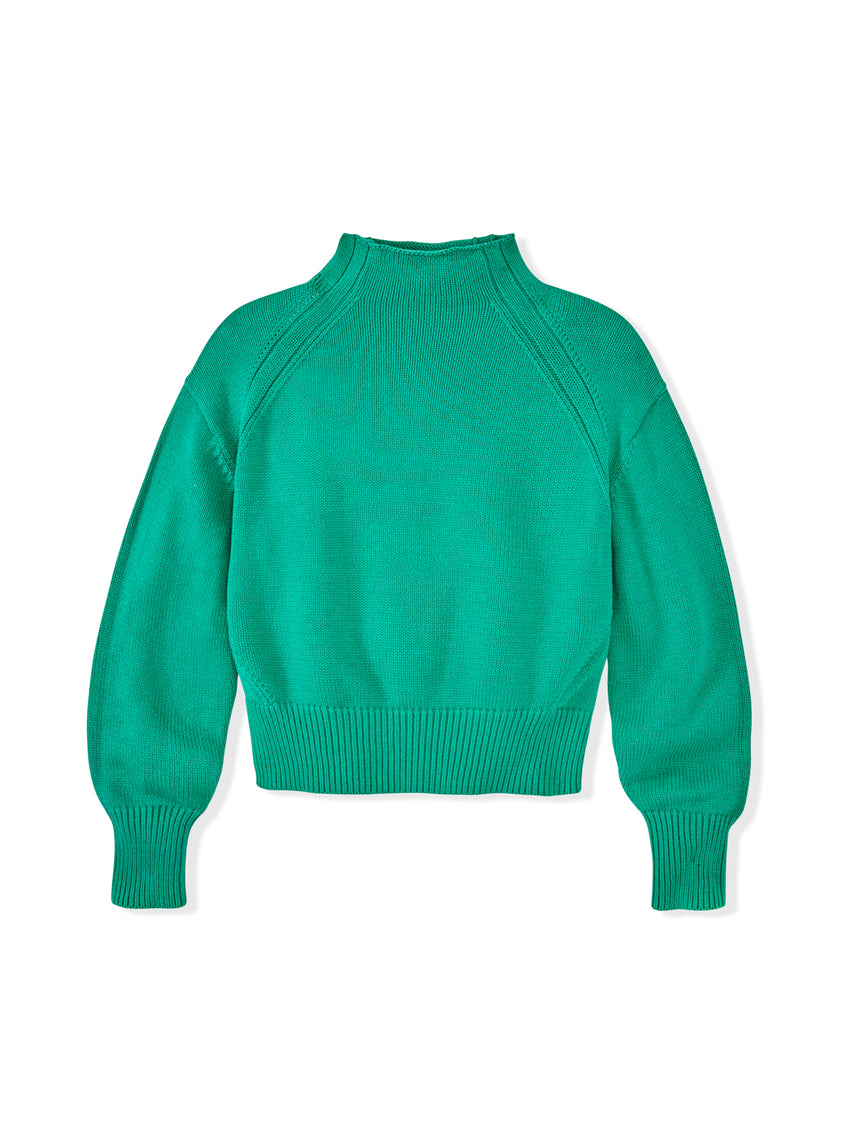 Cotton Transfer Stitch Rolled Mock Neck Sweater