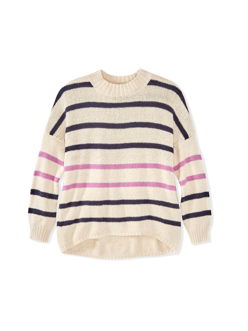 Cotton Shaker Striped Drop Sleeve Sweater