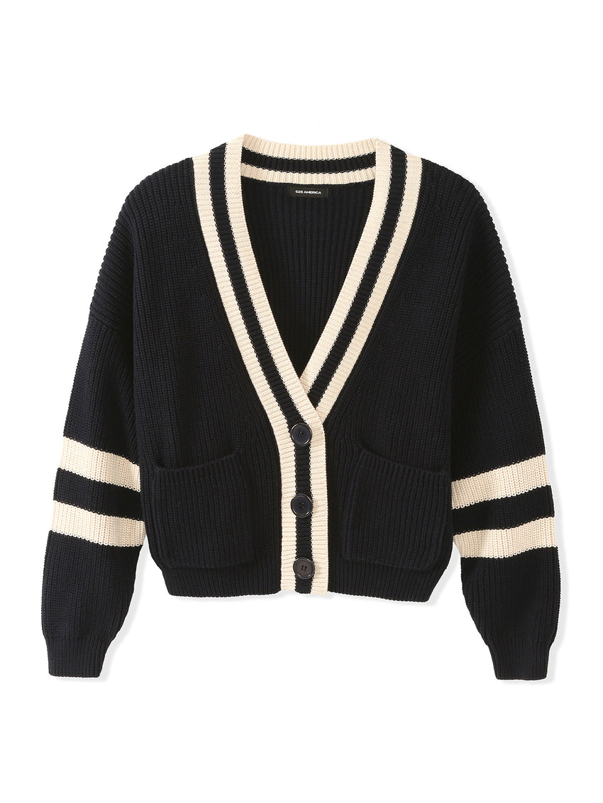 Cotton Shaker Oversized Varsity Cardigan