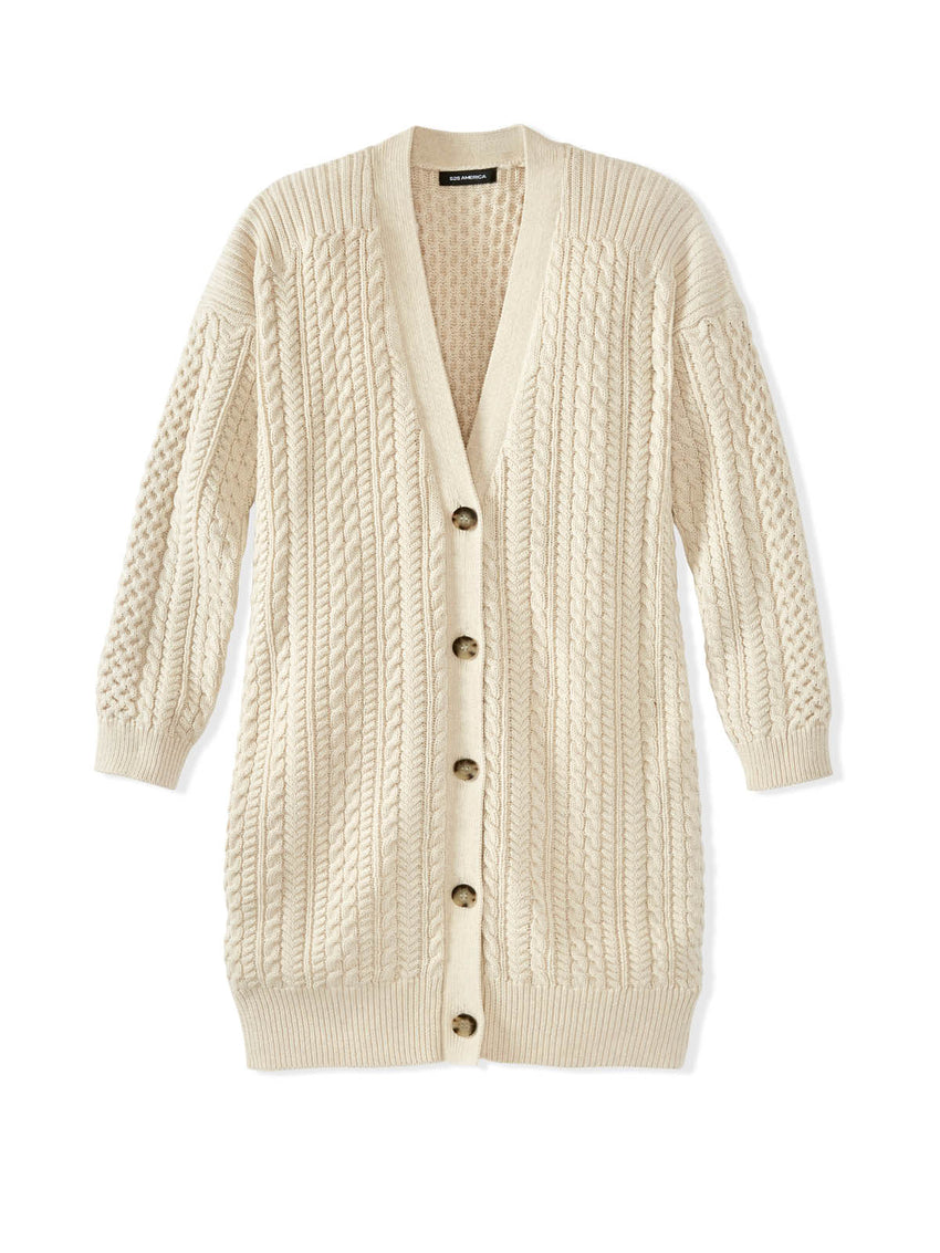 Cotton Cable Knit Duster Cardigan