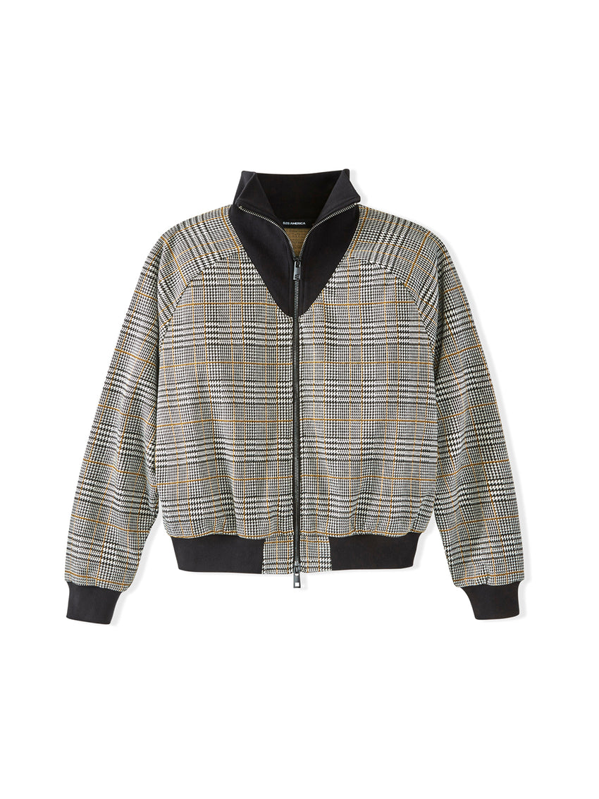 Glen Plaid Funnel Neck Bomber Jacket