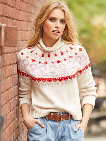 Cotton Shaker Empowerment Fair Isle Sweater