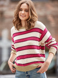 Cotton Shaker Lurex Trim Striped Sweater