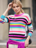 Cashmere Multi-Stripe Crewneck Sweater