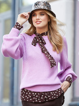 Cotton Shaker Long Puff Sleeve Sweater