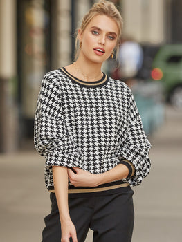 Houndstooth Lurex Cropped Sweater