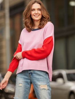 Cotton Shaker Colorblock Hi Low Hem Sweater