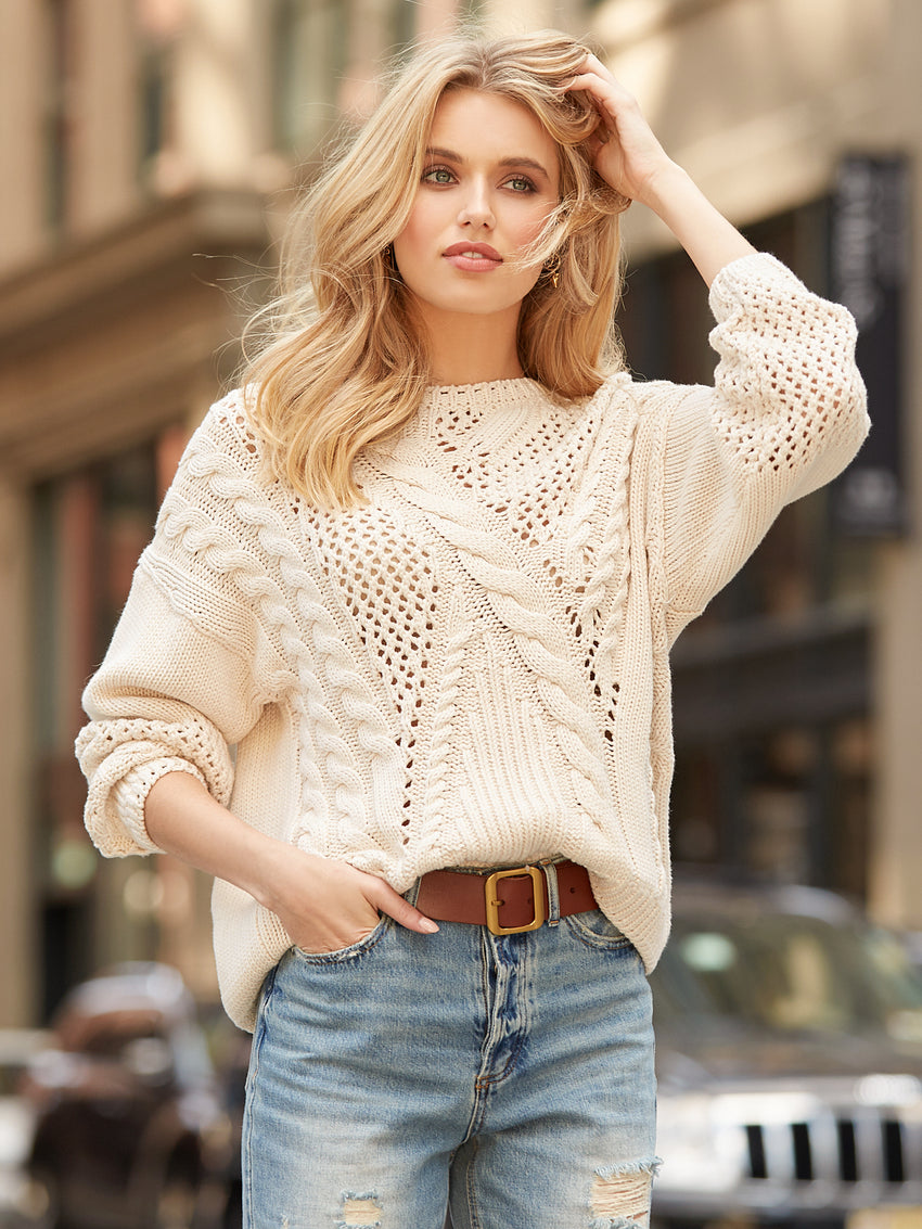 Cotton Mix Stitch Dropped Sleeve Sweater