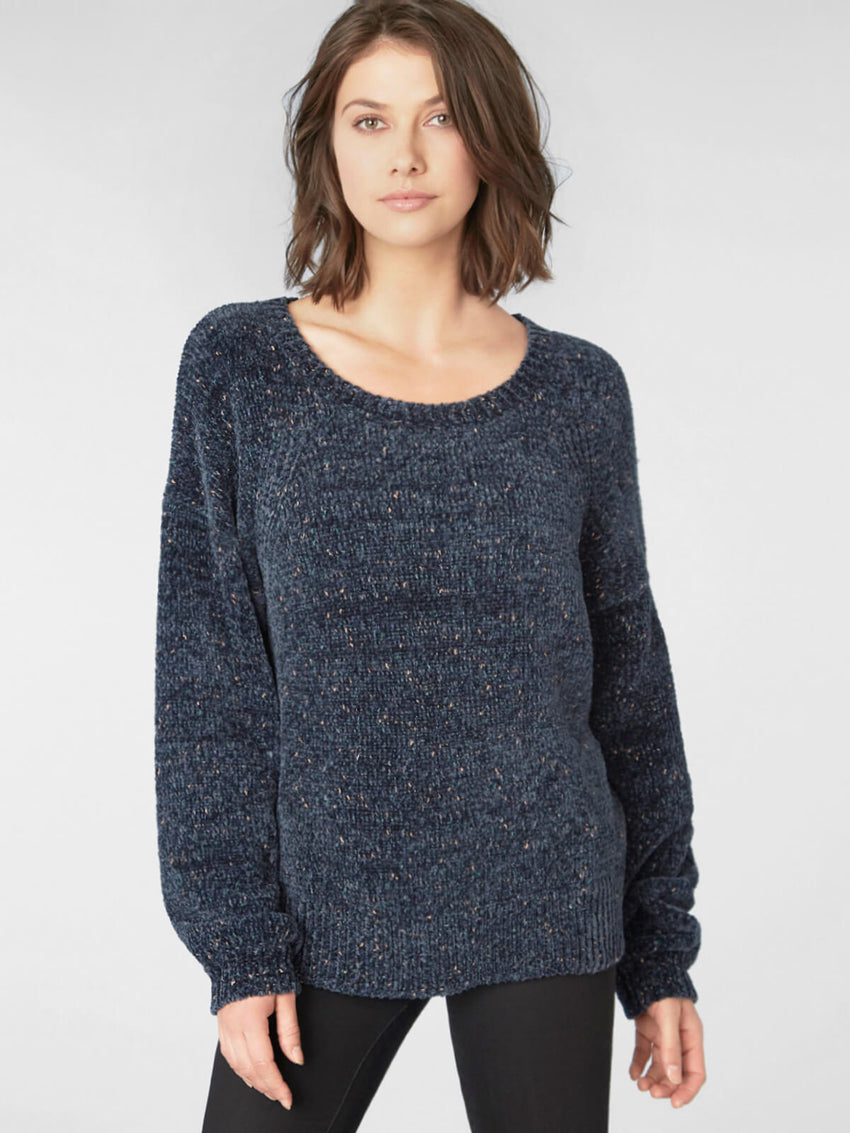 Fleck Chenille Boatneck Balloon Sleeve Sweater