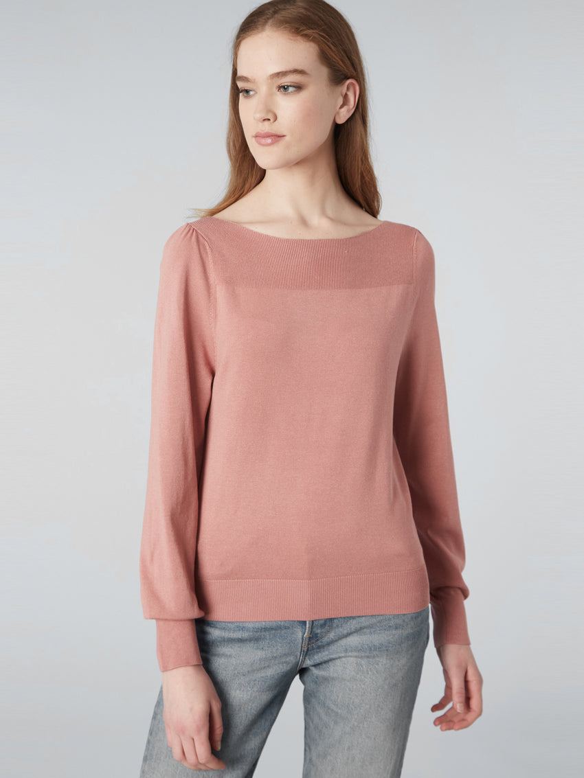 Boatneck Gathered Shoulder Sweater