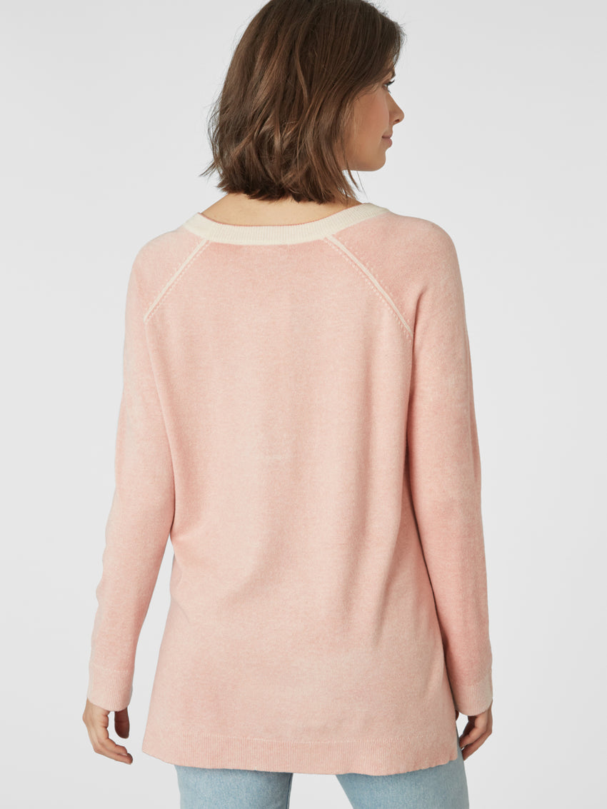 Cashmere Reverse Printed Hi-Low Sweater