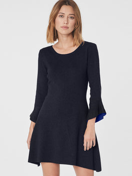 Contrast Bell Sleeve Sweater Dress