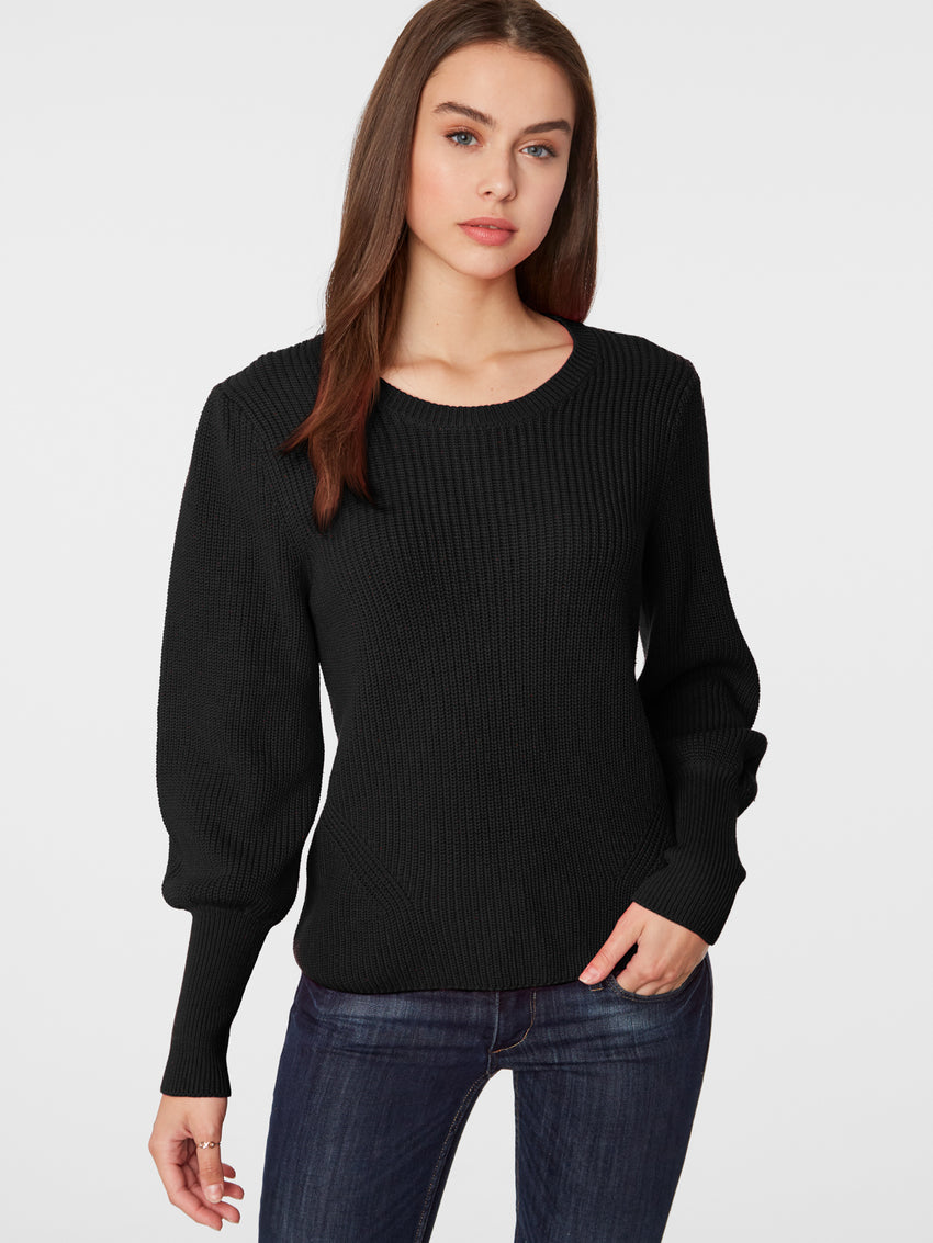 Bishop Sleeve Cotton Shaker Sweater