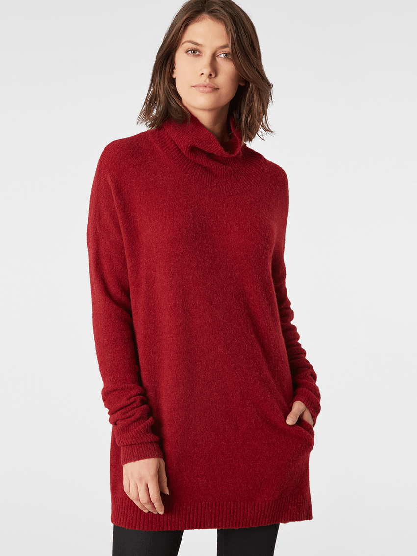Yak Wool Blend Turtleneck Pocket Tunic