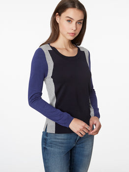Deco Colorblock Scoop Neck Sweater