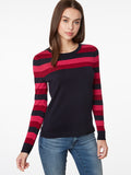 Colorblock Rugby Stripe Crewneck Sweater