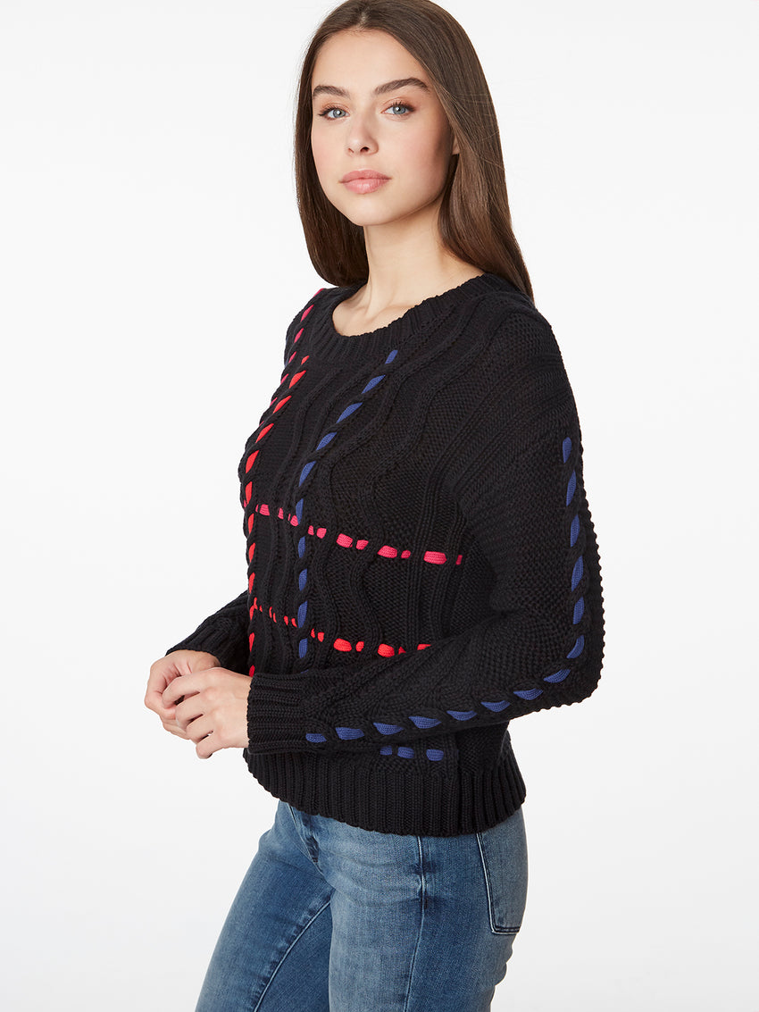 Cotton Cable Crosshatch Weave Sweater