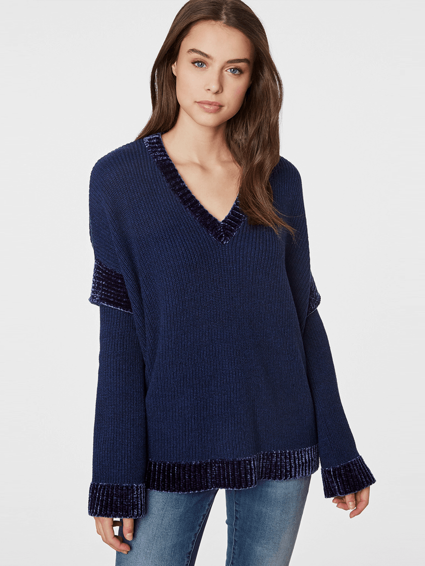 Cotton Blend Chenille Trim V-neck Sweater