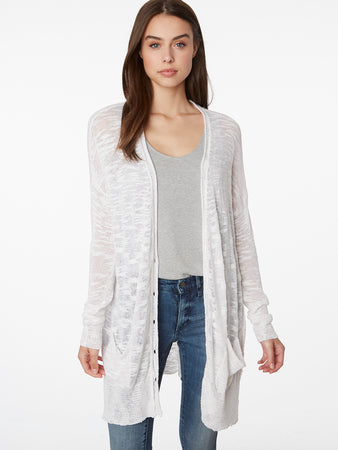 Slub Knit Linen Blend Relaxed Fit Duster Cardigan
