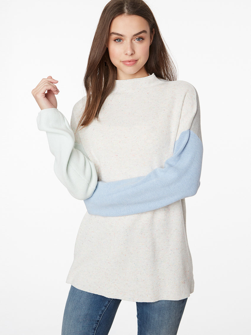 Cotton Colorblock Mock Neck Sweater