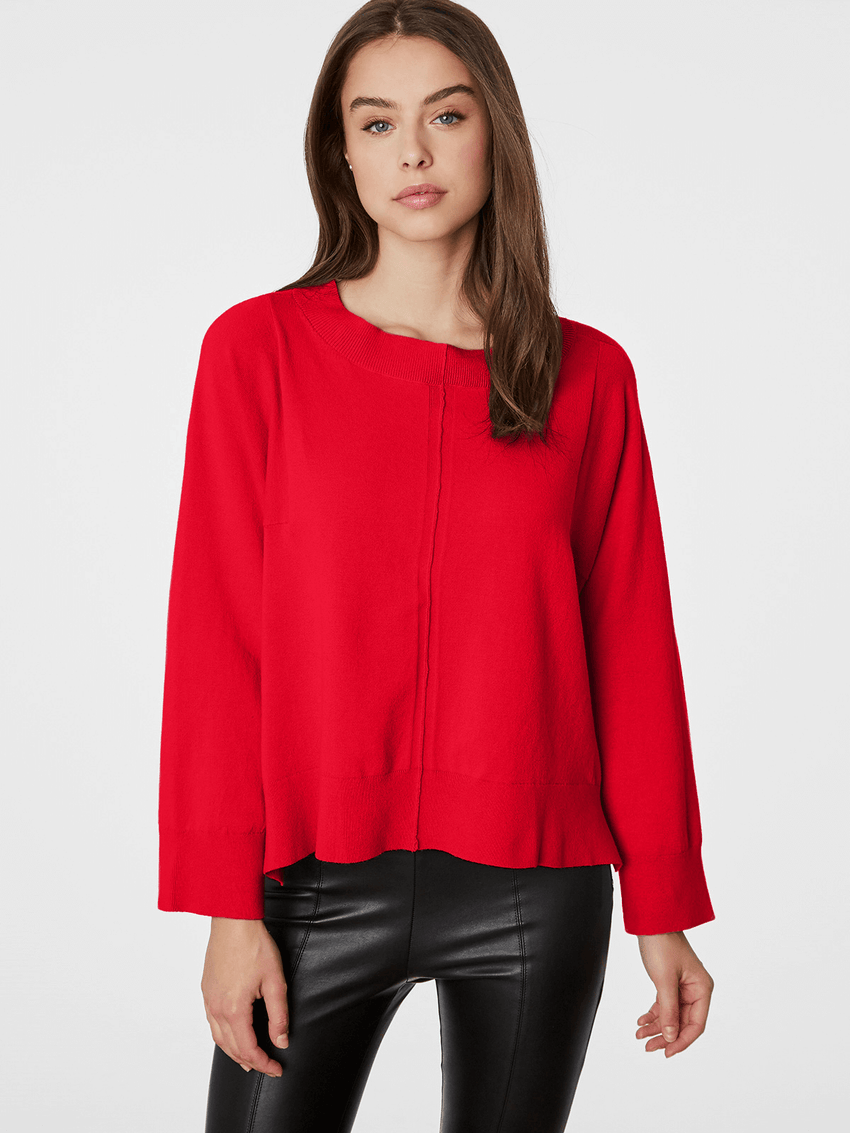Side Zip Plaited Cotton Bateau Neck Top