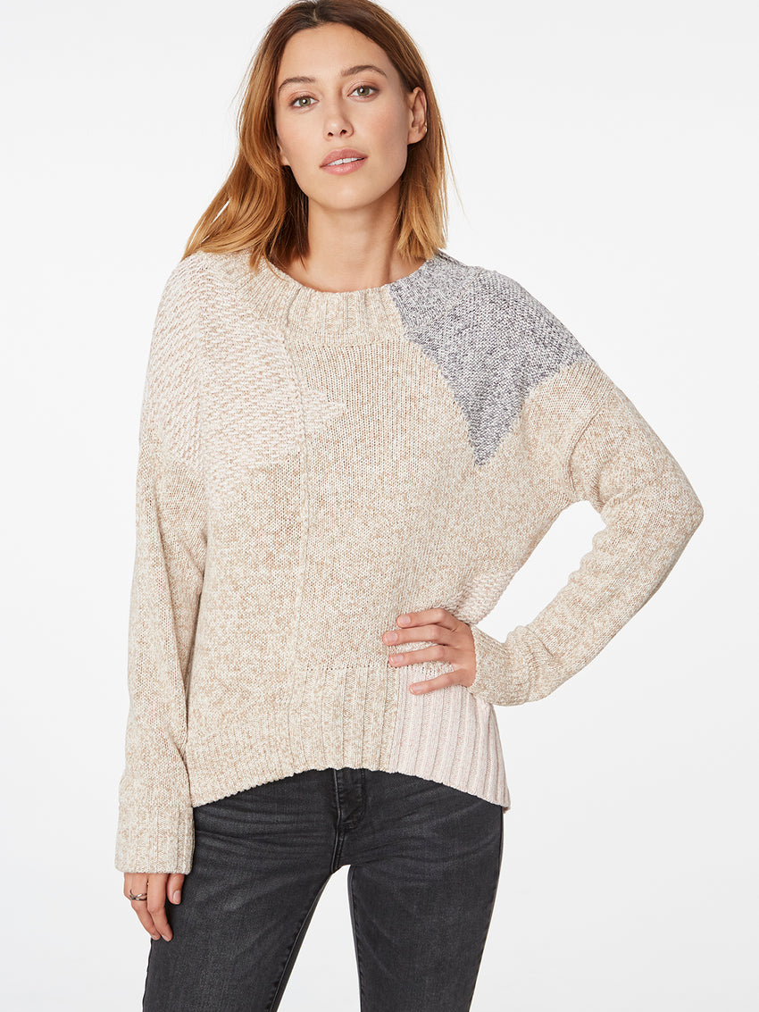 Cotton Patchwork Marled Knit Sweater