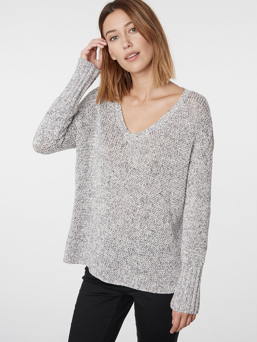 Cotton Marled Knit Wide V-Neck Sweater