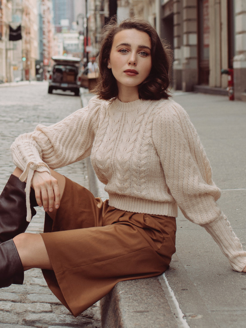 Cable Knit Puff Sleeve Detailed Sweater