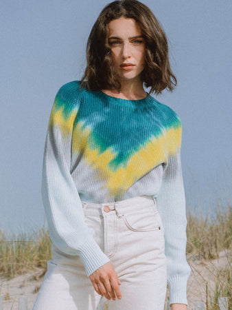 Tie Dye Chevron Long Sleeve Sweater