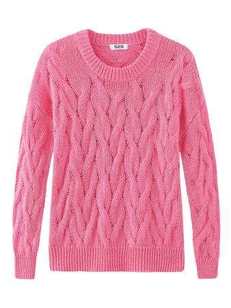 Cable Knit Crewneck Long Sleeve Sweater