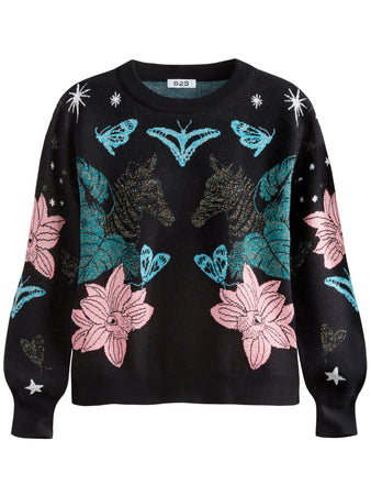 Jungle Jacquard Crewneck Long Sleeve Sweater