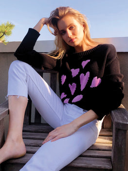 Cotton Crewneck Hearts All Over Sweater
