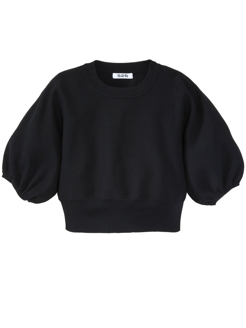 Cropped Crewneck Balloon Sleeve Sweater