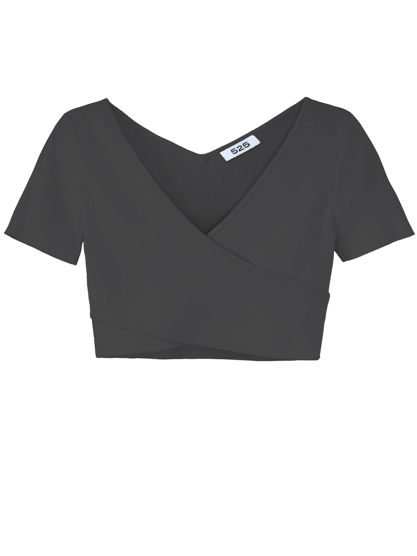Cropped V-Neck Cap Sleeve Top
