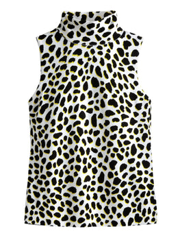 Cheetah Print Sleeveless Turtleneck Top