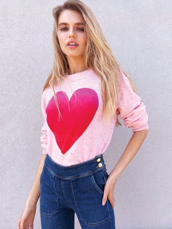 Ombre Heart Crewneck Cashmere Sweater