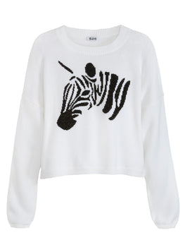 Cotton Shaker Sparkle Zebra Sweater