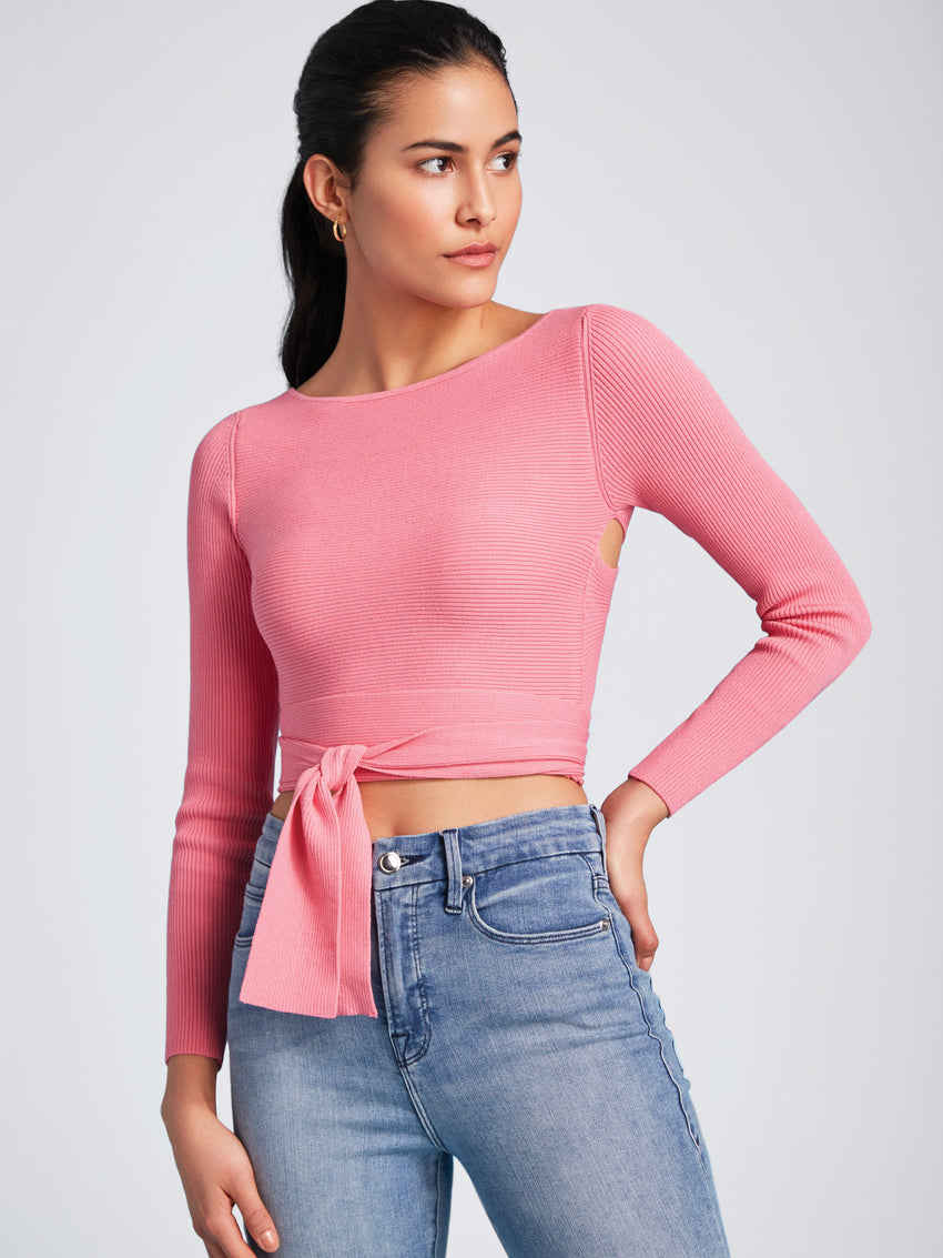 Open Neck Long Sleeve Top