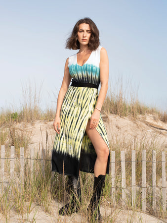 Tie Dye V-Neck Sleeveless Dress