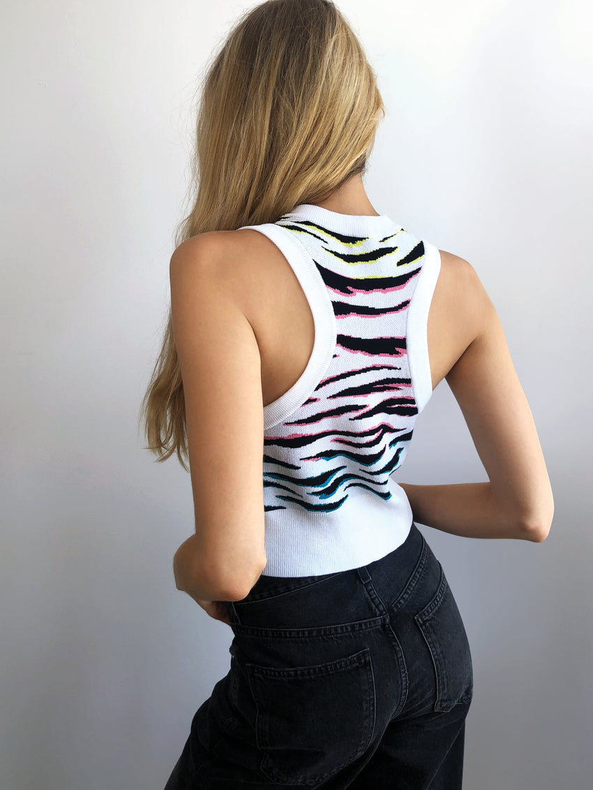 Zebra Print Sleeveless Crop Top