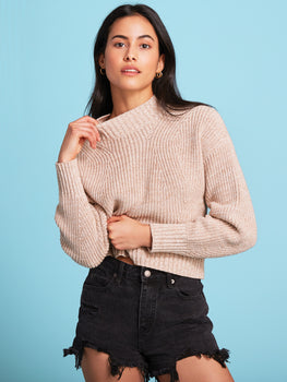 The Mia: Cotton Transfer Stitch Cropped Sweater